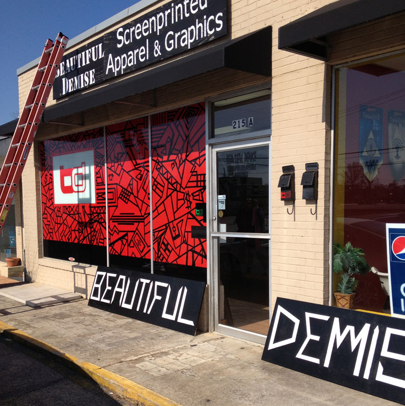 new beautiful demise sign for storefront