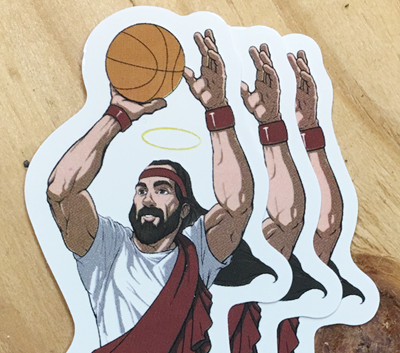 Jumpshot Jesus stickers tshirt